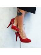 Pantofi de piele naturala rosie  cu toc inalt - Bianca Georgescu