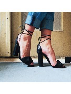 Sandale din piele naturala neagra cu taietura laser - Bianca Georgescu