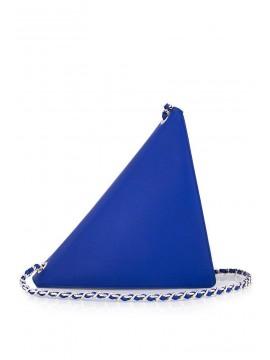 Geanta piele albastra triunghi - designeri romani