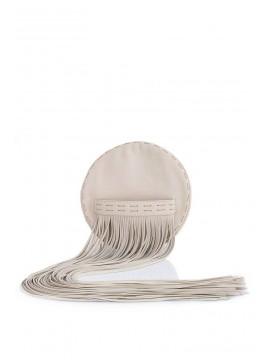 Plic oval din piele naturala cu franjuri decorative