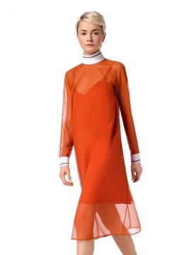 Rochie transparenta portocalie din plasa  - Ramelle  - designeri romani