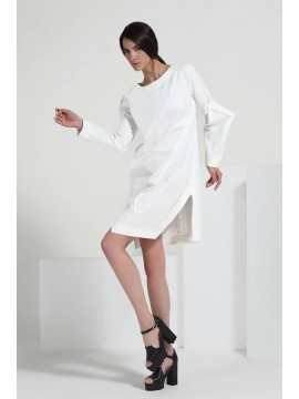 Rochie alba futuristica bumbac    - Ramelle  - designeri romani