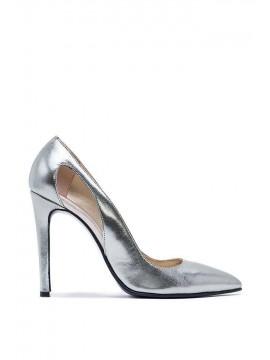 Pantofi stiletto argintii  - piele naturala - Laura Olaru