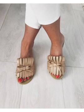 Papuci piele naturala cu franjuri bej sidef      - shop designeri romani