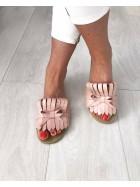 Papuci piele naturala cu franjuri roz sidef      - shop designeri romani