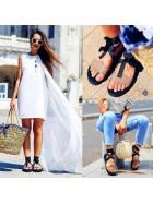 Sandale din piele naturala cu taietura laser  - Bianca Georgescu