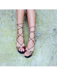 Sandale piele rosu auriu  perforata laser   - Bianca Georgescu