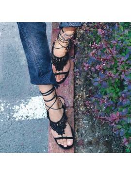 Sandale piele  neagra  perforata laser   - Bianca Georgescu