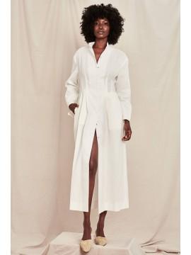 Rochie camasa midi alba cu crapatura pe picior - designeri romani