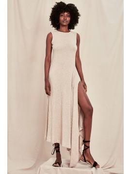 Rochie maxi cu crapatura pe picior - designeri romani