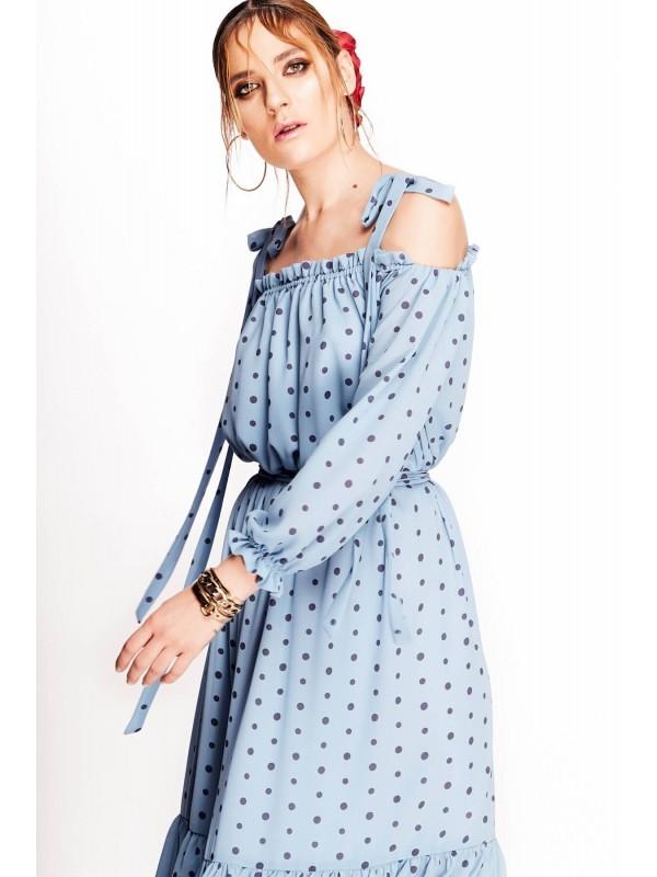 Rochie bleu cu buline cu umerii goi  - designeri romani
