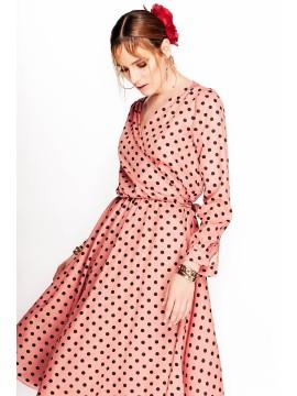 Rochie midi petrecuta roz cu buline - designeri romani