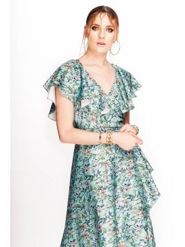 Rochie mint cu print floral si volane - designeri romani