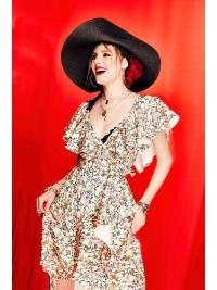 Rochie nude cu print floral si volane - designeri romani