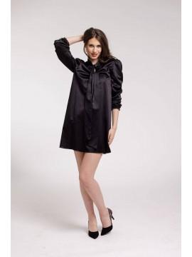 Rochie de cocktail neagra din bumbac satinat cu esarfa