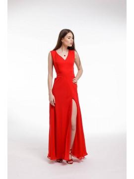 Rochie de seara rosie din voal cu slit frontal