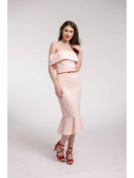 Rochie de cocktail midi roz cu volane