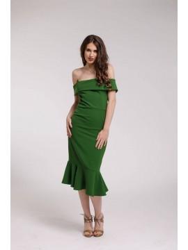 Rochie de cocktail midi verde cu volane