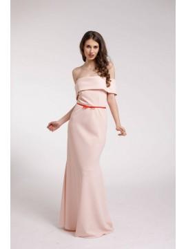 Rochie de seara roz cu volan supradimensionat