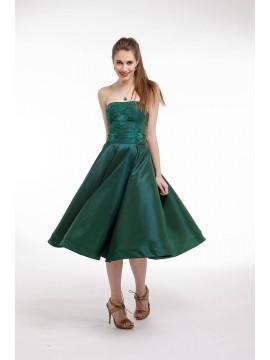 Rochie de cocktail midi din tafta verde cu corset si aplicatii de dantela