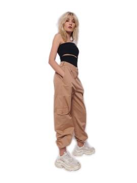 Pantaloni cargo cu talie joasa