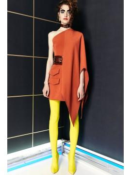 Rochie scurta portocalie asimetrica Concepto - designeri romani