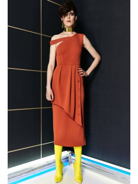 Rochie midi portocalie  Concepto - designeri romani