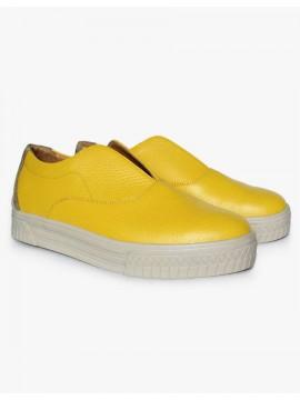 Pantofi sport piele naturala galbena - Bianca Georgescu