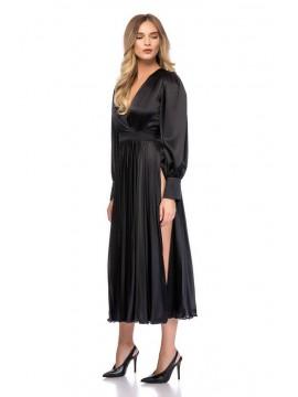 Rochie neagra midi cu crapaturi laterale