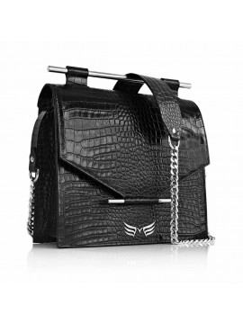 Black Croco Square Bag