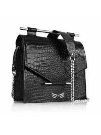 Black Croco Square Bag