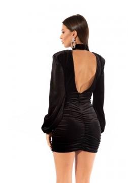 Rochie neagra mini din catifea