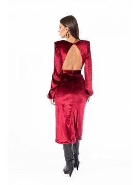 Rochie catifea burgundi cu decolteu si crapatura pe picior  - designeri romani