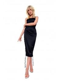 Rochie neagra midi cu snururi in lateral - designeri romani