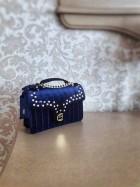 Geanta din piele naturala  catifea albastra - Cathias Edeline