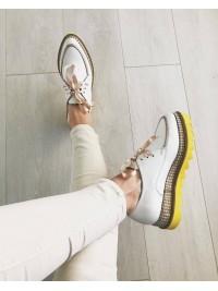 Pantofi oxford alb galben femei  - shop designeri romani