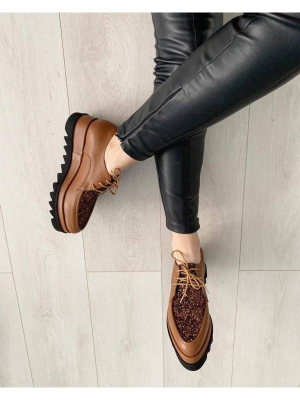 Pantofi oxford piele maron glitter  femei  - shop designeri romani