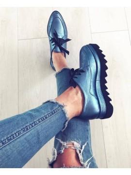 Pantofi oxford albastu metalic femei  - shop designeri romani
