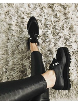 Pantofi oxford negri piele naturala neagra cu perle  - shop designeri romani