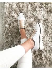 Pantofi oxford piele croco alba femei  - shop designeri romani