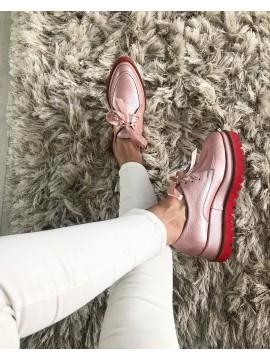 Pantofi oxford piele naturala roz metalizat  femei  - shop designeri romani