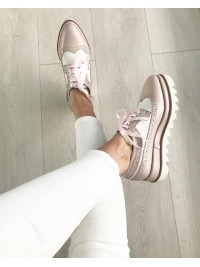 Pantofi oxford  nude alb piele naturala - shop designeri romani