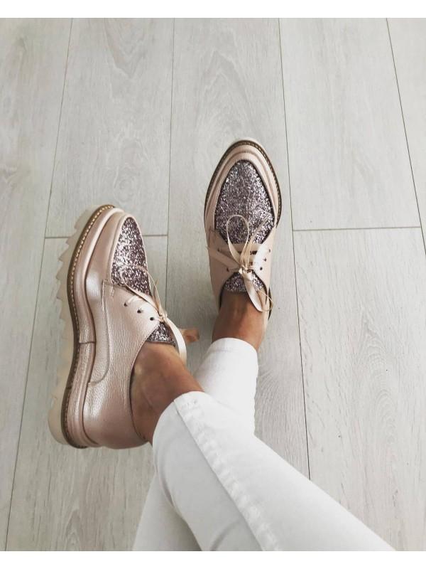 Pantofi oxford nude glitter femei  - shop designeri romani