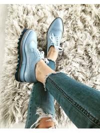 Pantofi oxford piele naturala bleu  femei  - shop designeri romani