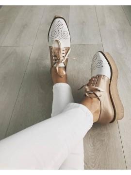 Pantofi oxford piele naturala alba femei  - shop designeri romani