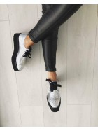 Pantofi oxford piele naturala argintie  femei  - shop designeri romani