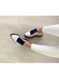 Pantofi oxford piele naturala alba talpa albastra - shop designeri romani