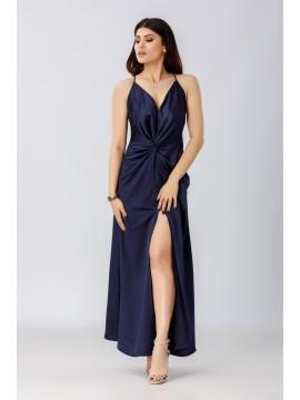 Rochie maxi navy lunga cu bretele subtiri - designeri romani