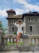rochie mini alba cu maneci lungi - shop designeri romani