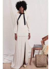 Rochie maxi  cu maneca lunga cu crapatura pe picior - designeri romani